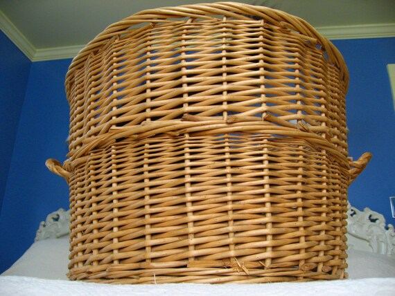 Large Round Wicker Baskets With Handle : Items similar to huge wicker basket with handles big jumbo