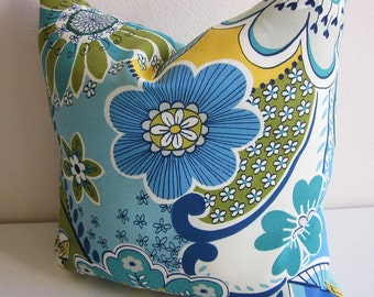 Mill Creek Floral Outdoor Pillow Cover Decorative Throw Pillow Cover Flowers Stripe Striped Pillow Blue Teal Kiwi Green
