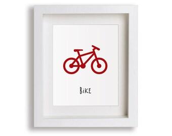 Bike Nursery Art Print - Baby Boy Room, bike gift, Transportation Bicycle, Children's Decor, Baby Nursery, Kids Wall Art, Playroom, Toddler