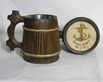 Personalized Wooden Beer mug 0,8 l (27oz) , natural wood, stainless steel inside,groomsmen gift, n11
