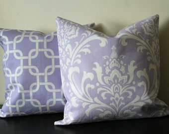 Decorative Throw Pillow Covers,Set of Two, Lavender and White Pillow Covers, Accent Pillow, Pillow Shams,Toss Pillows,Sofa Pillows
