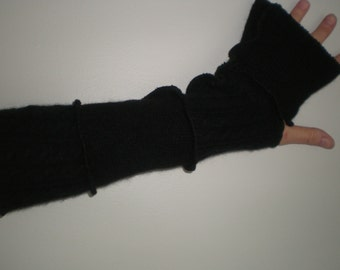 100 percent cashmere arm warmers, solid black plain and cable cashmere,15 inch