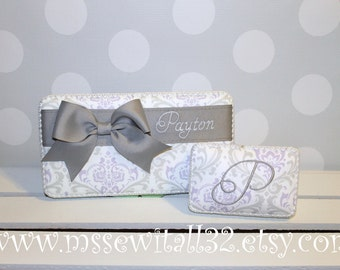 Custom Lavender and Gray Damask Diaper Wipes Case and Paci Case Set