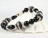 Onyx Gemstone Stretch Bracelet Sterling Silver Bead CarolMade S7