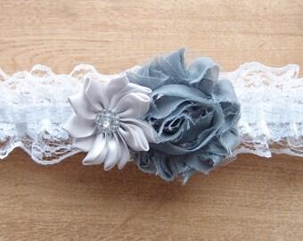 Gray and white garter, white garter, grey wedding garter, gray garter, rhinestone garter, vintage garter, wedding accessories, lace garter