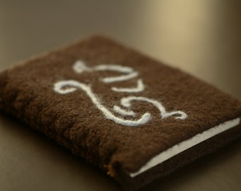 Notebook, hand sewn notebook with chocolate brown felted cover