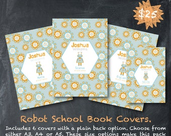 Custom School Book Covers - Robot