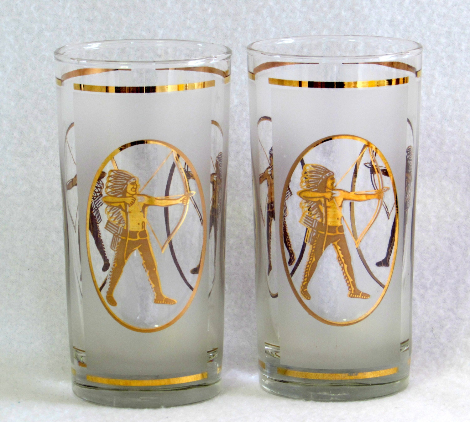 22K Gold Gilded Culver Inspired Glasses Pair RARE Indian