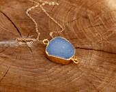 Druzy Freeform Electroplated Necklace blue crystal quartz gold fill boho