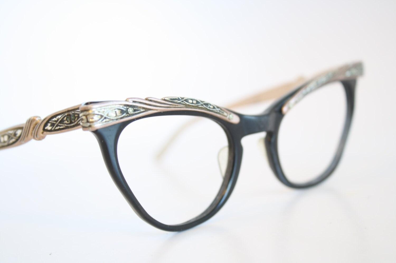 Retro Cat Eye Eyeglass Frames : Shuron Combination Cat Eye Eyeglasses Vintage by PinceNezShop