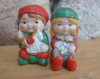 Salt and Pepper Vintage 1983 Santa's Helpers Boy Girl set by AVON