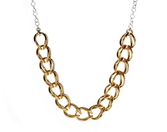 Gold Plated Bib Necklace Silver Chain Necklace