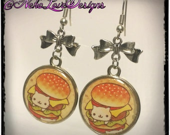Nyanko Burger Earrings With Black or Silver Bow