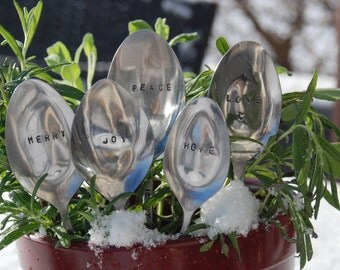 Set of 5 Hand Stamped Vintage Spoon Plant Markers- Perfect  Holiday/ Hostess gift