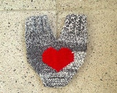Couples glove, lovers mitten for him and her, couples mitten, with a big red heart, wedding, anniversary, engagement gift, valentines gifts