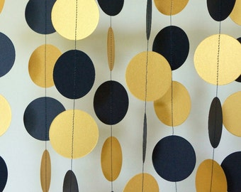 Navy and Gold Graduation Decoration, Navy Blue Gold Graduation Party, Party Decoration, Birthday Circle Garland, 10 ft. long