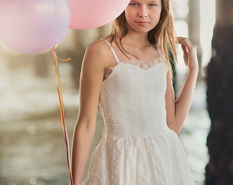 Ivory Lace Junior Bridesmaid Dress With A Bow On Back, Ivory Flower Girl Dress