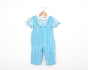 Vintage Health Tex Romper in Knit Blue 12 months