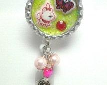 Kawaii white kitty badge reel, Marie badge holder, glittered badge reel, decorative badge reel