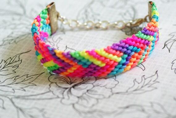 Neon friendship bracelet, bright colors, girly bracelet, hot pink