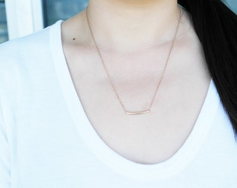 Solid Joys Necklace- gold tube 14 kt gold filled necklace
