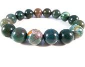 Indian Bloodstone Stretch Bracelet Smooth 12mm Round Gemstone Beads Handmade