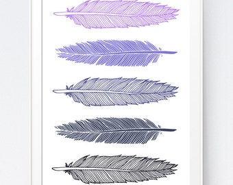 Purple Navy Feathers, Feathers Art, Purple Wall Art, Feathers Print, Purple Wall Print, Purple Art, Purple Summer Wall Art, INSTANT DOWNLOAD