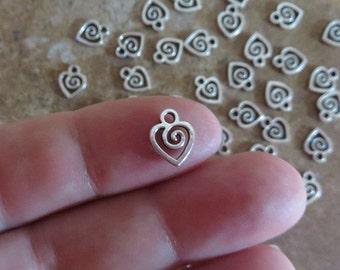 24 Mini SWIRL HEART CHARMS Very Small Love Valentine Hearts Atq Silver Tone Charm Jewelry Please Read Item Details  9.5x8.5 mm