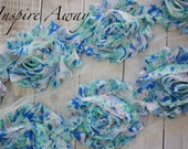 Blue and Aqua Floral Printed Shabby Chiffon Flower Trim -Your choice of 1 yard or 1/2 yard -  Printed Chiffon Shabby Rose Trim, DIY headband