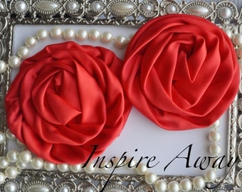2 Large Red Satin Rolled Rose/Rosettes- fabric flowers, satin flower, DIY headband supplies, accessory supplies