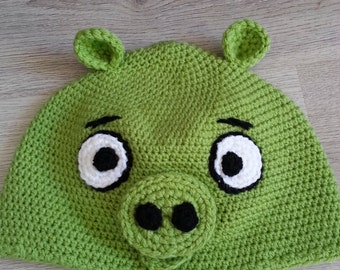 FREE SHIPPING Angry Bird Green Pig Crochet Child Hat