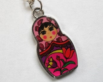 SALE Russian Doll necklace in pink