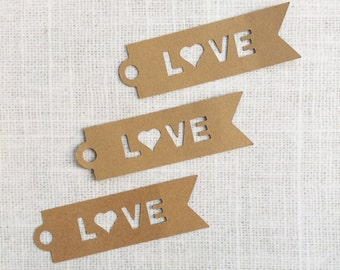 Love Banner Die-cut Kraft Paper Hang Tags, Gift Tags - Set of 25 - wedding invitation decoration - wedding favor tags