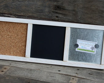 Memo Board - Wood Frame - Distressed Wood - Magnetic, Chalk, Cork Board - Small - Distressed White