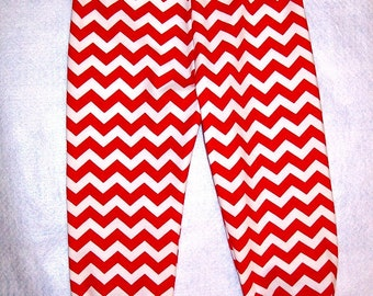 Red Chevron Knit Leggings -  Red and White - Zig Zag - Size 2T