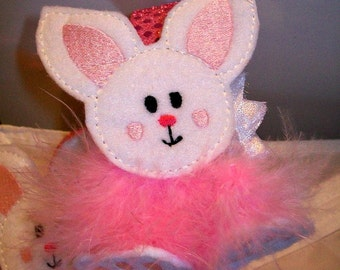 Bunny Rabbit Headband - Embroidered felt and maribou fluff - Pink and White