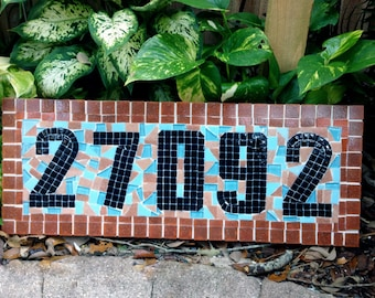 Teal and Coral House Number Sign // Beach House Address Plaque
