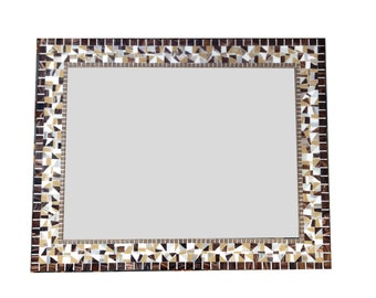 Large Brown, White, Tan Mosaic Mirror // Decorative Wall Mirror // Brown Home Decor