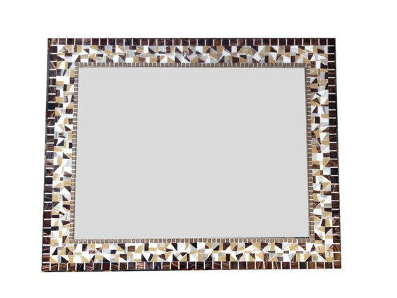 Large Brown, White, Tan Mosaic Mirror // Decorative Wall Mirror // Brown Home Decor