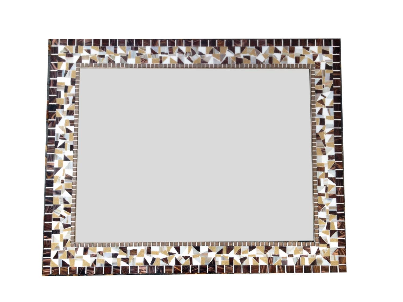 Large brown white tan mosaic mirror decorative wall for Large white decorative mirror