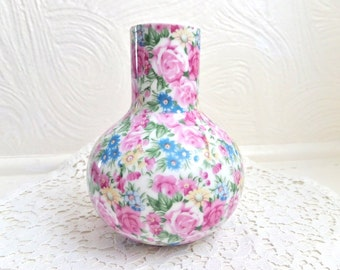 Vintage Chintz Vase Irice Import Japan