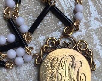 "Teething dents!  Antique Locket Victorian Gold Filled Amazing Patina Etched Monogram CM on  Locket Black & White Vintage Bead Chain 18"""