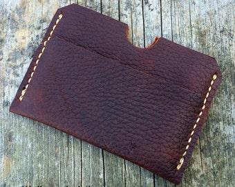 Mens leather wallet, Minimalist wallet, Full grain leather, Made in America, Black, Brown, Tan
