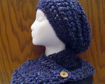 Crochet Button Scarf and Slouchy Beanie Set Purple Boucle Wood Buttons Neckwarmer Scarflette Hat