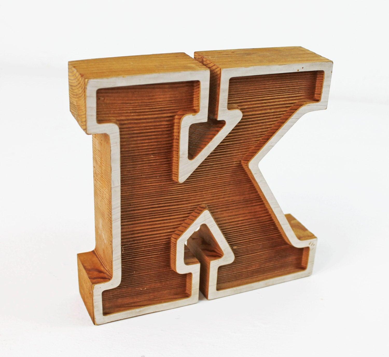Vintage wood block letter k office decorcapital free