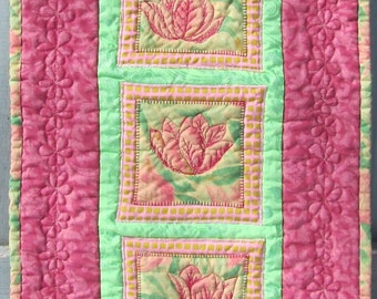Spring Summer Wall Hanging Door Decoration Table Runner Pink Green Tulips Spring Quilt Flowers Floral Housewarming Hostess Gift