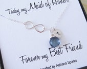 Maid of Honor Infinity Silver Necklace, Birthstone Infinity Necklace, Maid of Honor gift, Personalized Infinity Necklace with Birthstone