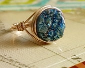 Gold Druzy Ring, Blue Green Druzy Ring, Druzy Jewelry, Wire Wrapped Ring
