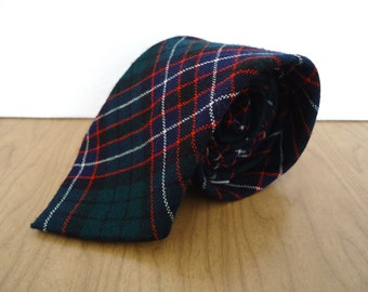 Lochcarron Scottish Tartan Tie / vintage Stewart Old green blue black red plaid wool men's necktie