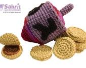 Instant Download Pattern Colorful Dreidel Chocolate Coins Hanukkah